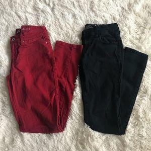 Denim - Pair Of Skinny Red Jeans & Black Jeans